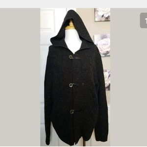 Vince Mens Wool Blend Toggle Hood Sweater
